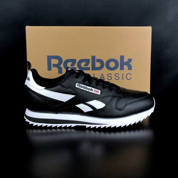 486f53d7c96 Reebok Black White CL Leather Ripple Low BP